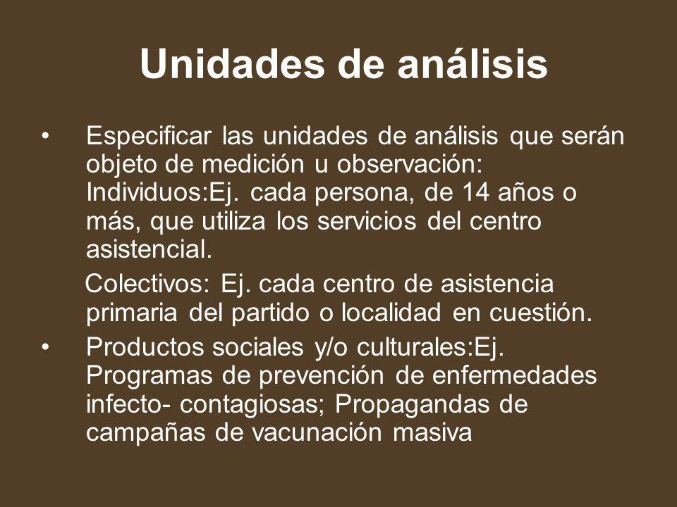 Unidades de análisis Especificar las unidades de análisis que serán objeto de medición u observación: Individuos:Ej. cada persona, de 14 años o más, q