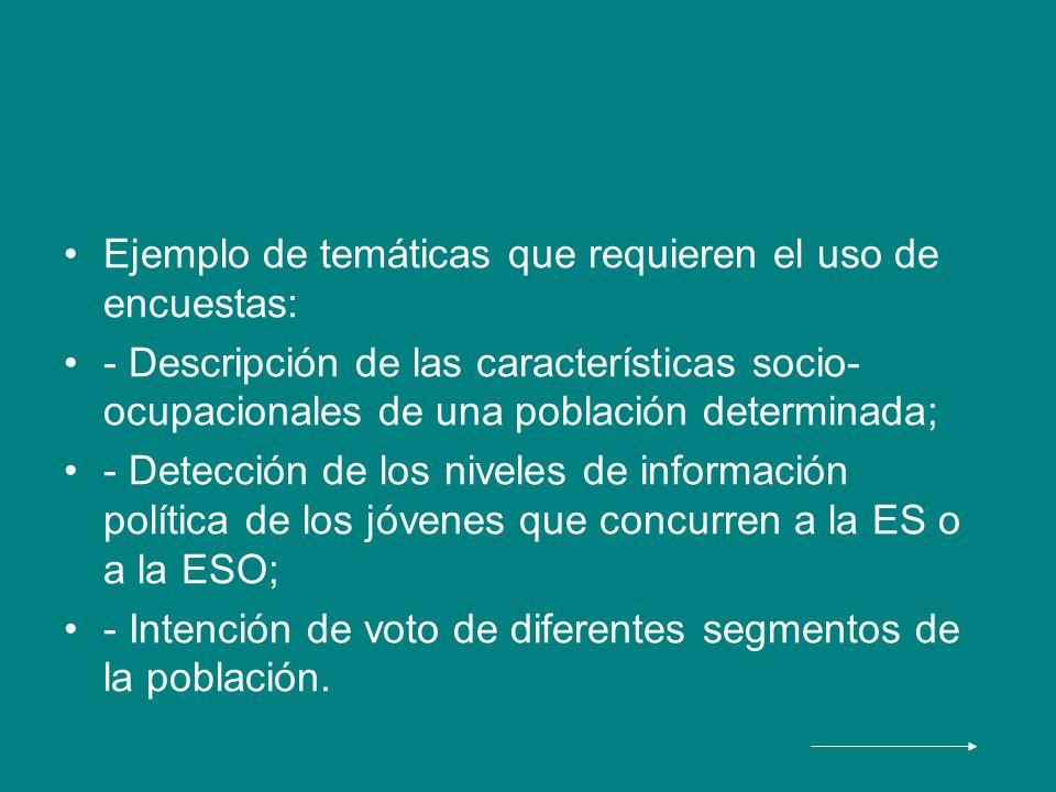 Ejemplo de temáticas que requieren el uso de encuestas: - Descripción de las características socio- ocupacionales de una población determinada; - Dete