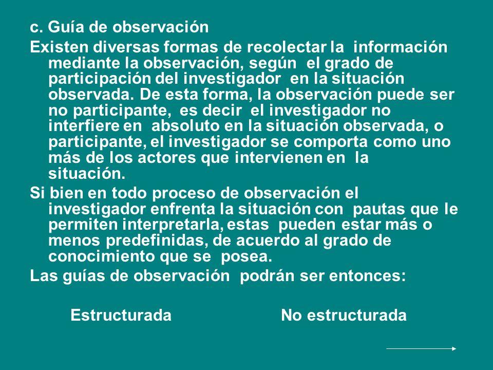 c. Guía de observación Existen diversas formas de recolectar la información mediante la observación, según el grado de participación del investigador