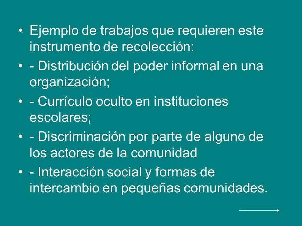 Ejemplo de trabajos que requieren este instrumento de recolección: - Distribución del poder informal en una organización; - Currículo oculto en instit