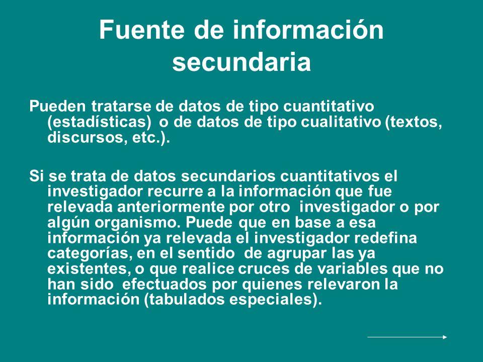 Fuente de información secundaria Pueden tratarse de datos de tipo cuantitativo (estadísticas) o de datos de tipo cualitativo (textos, discursos, etc.)