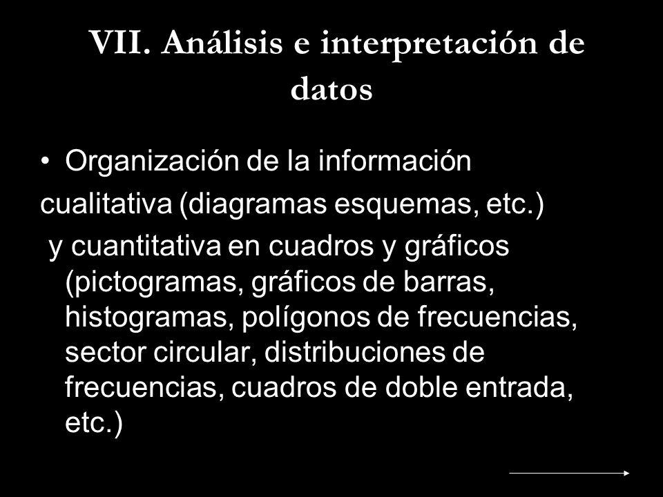 VII. Análisis e interpretación de datos Organización de la información cualitativa (diagramas esquemas, etc.) y cuantitativa en cuadros y gráficos (pi