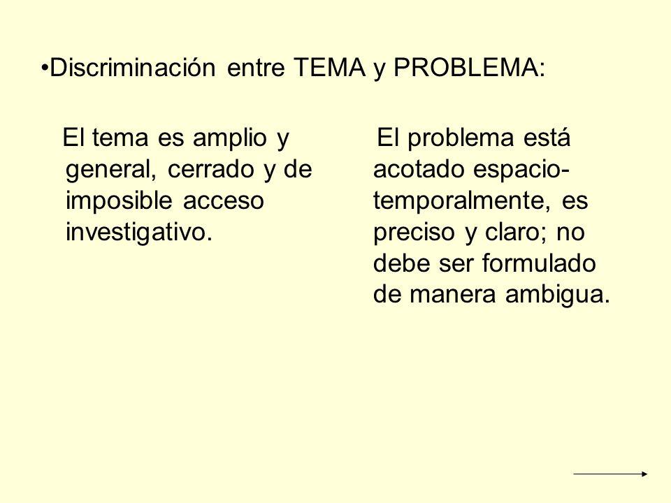 Discriminación entre TEMA y PROBLEMA: El tema es amplio y general, cerrado y de imposible acceso investigativo. El problema está acotado espacio- temp