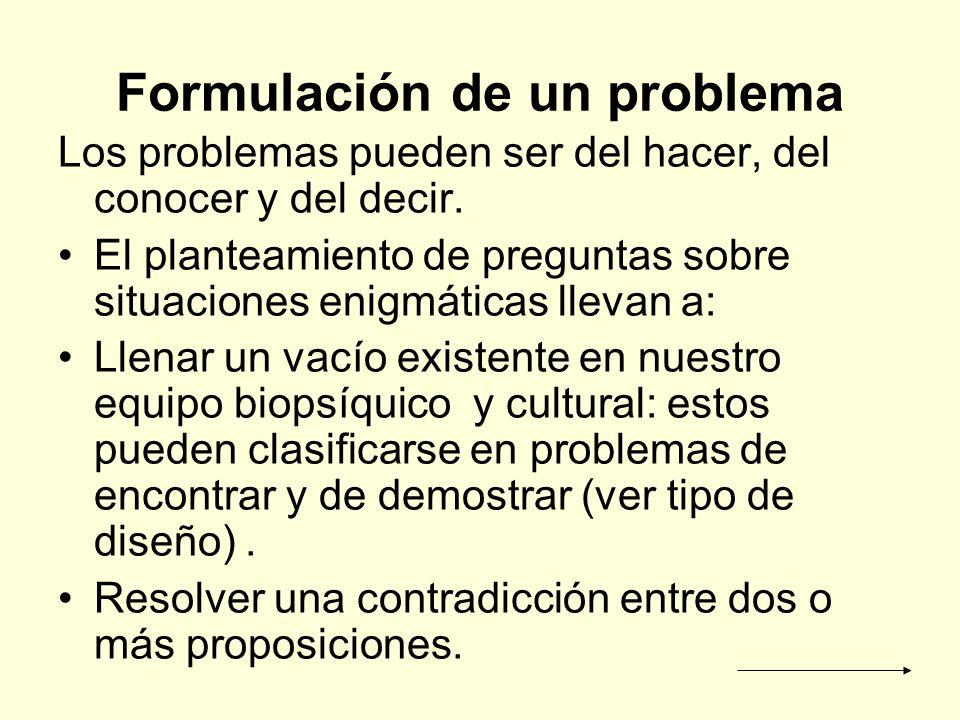 Formulación de un problema Los problemas pueden ser del hacer, del conocer y del decir. El planteamiento de preguntas sobre situaciones enigmáticas ll