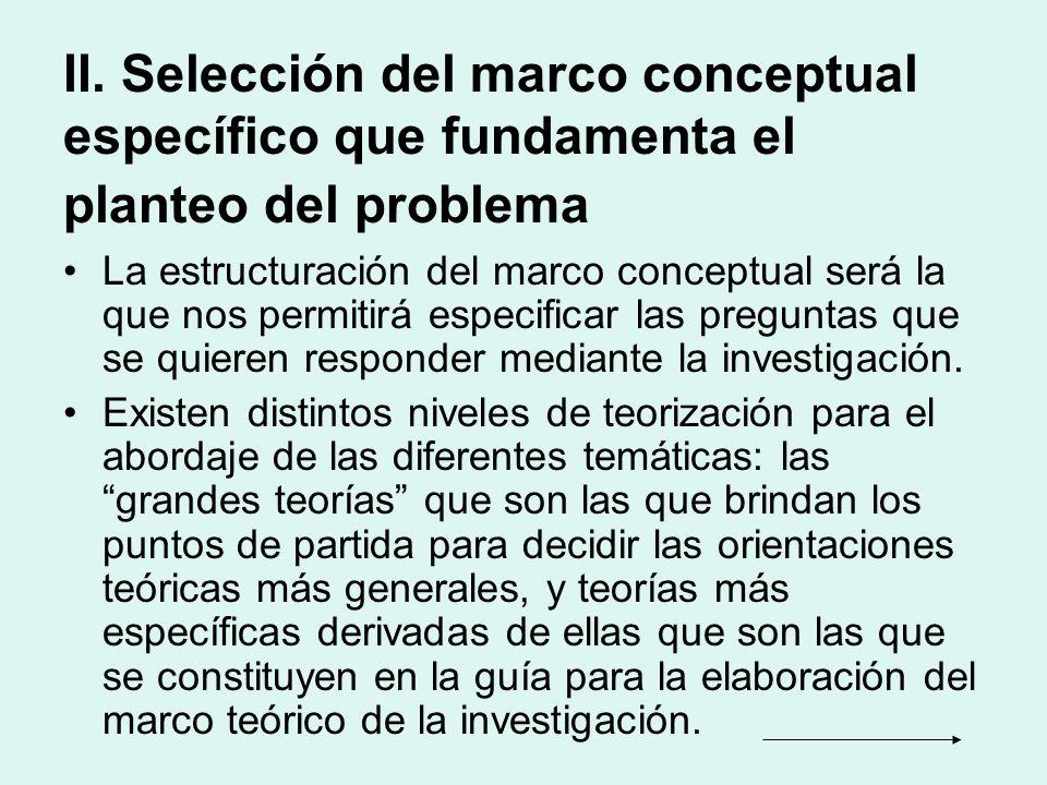 II. Selección del marco conceptual específico que fundamenta el planteo del problema La estructuración del marco conceptual será la que nos permitirá