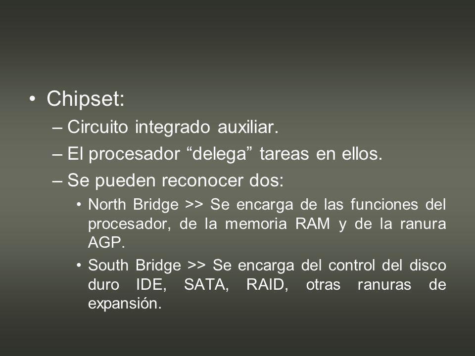 Socket de procesador: –Ranura o zócalo en el cual se ubica el procesador.