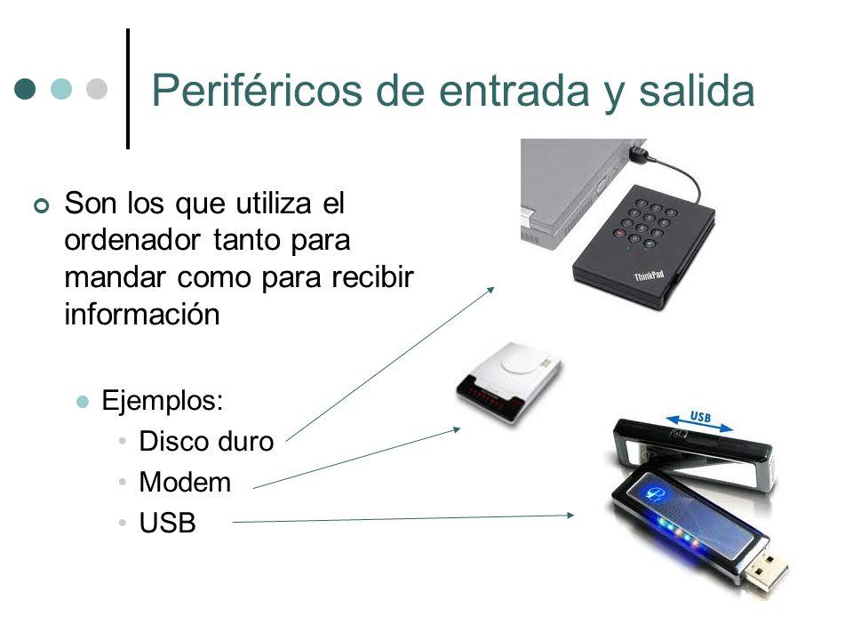 Periféricos de entrada y salida Son los que utiliza el ordenador tanto para mandar como para recibir información Ejemplos: Disco duro Modem USB