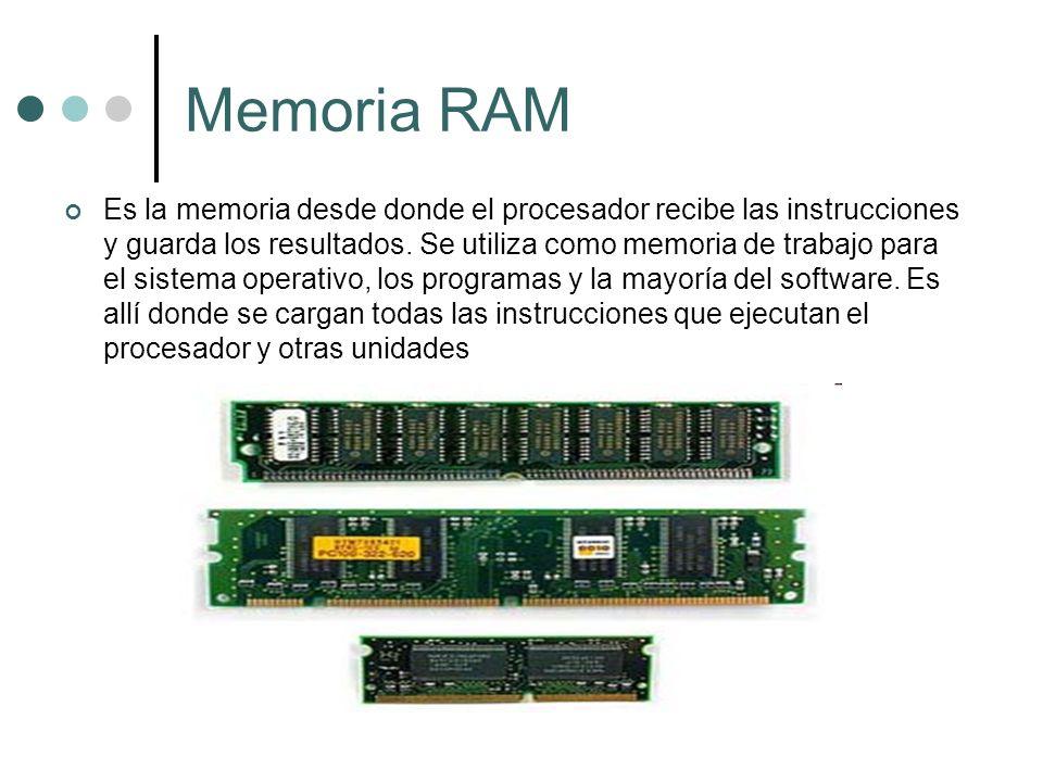 Memoria RAM Es la memoria desde donde el procesador recibe las instrucciones y guarda los resultados. Se utiliza como memoria de trabajo para el siste