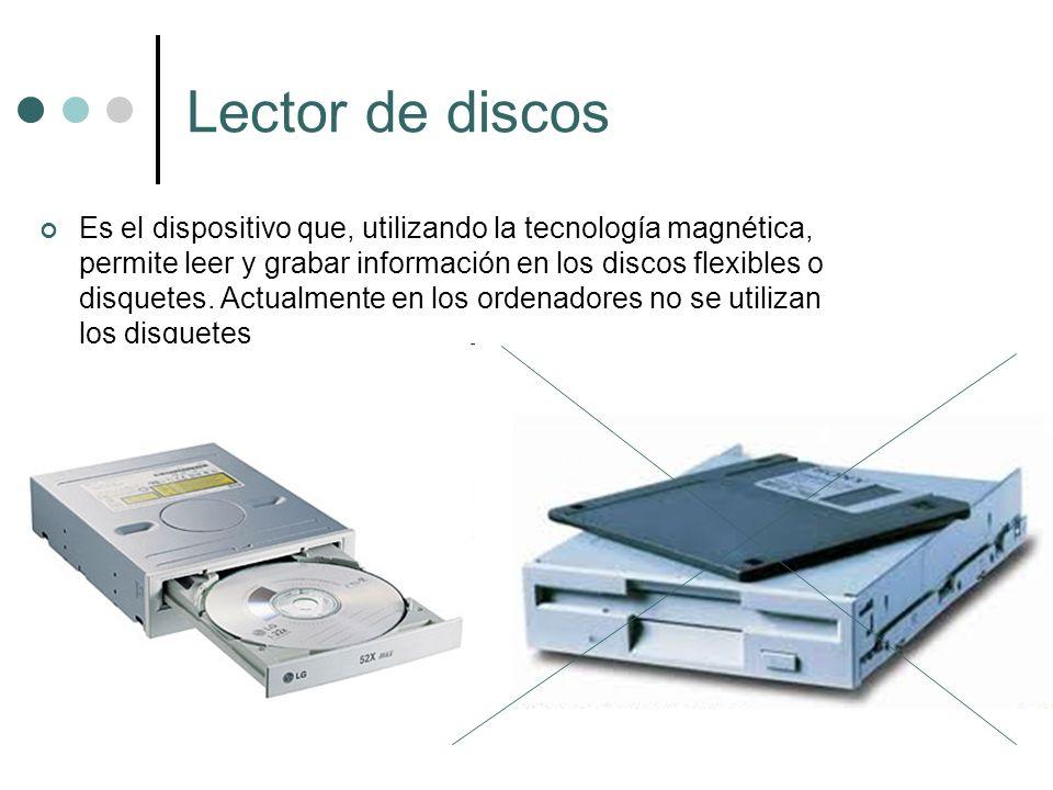 Lector de discos Es el dispositivo que, utilizando la tecnología magnética, permite leer y grabar información en los discos flexibles o disquetes. Act