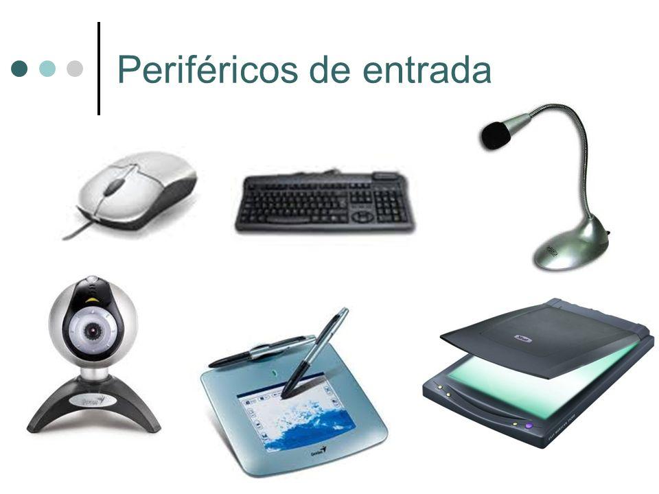 Son los que captan y digitalizan los datos introducidos por el usuario o por otro dispositivo y los envían al ordenador para ser procesados Ratón: Controla el puntero de la pantalla.