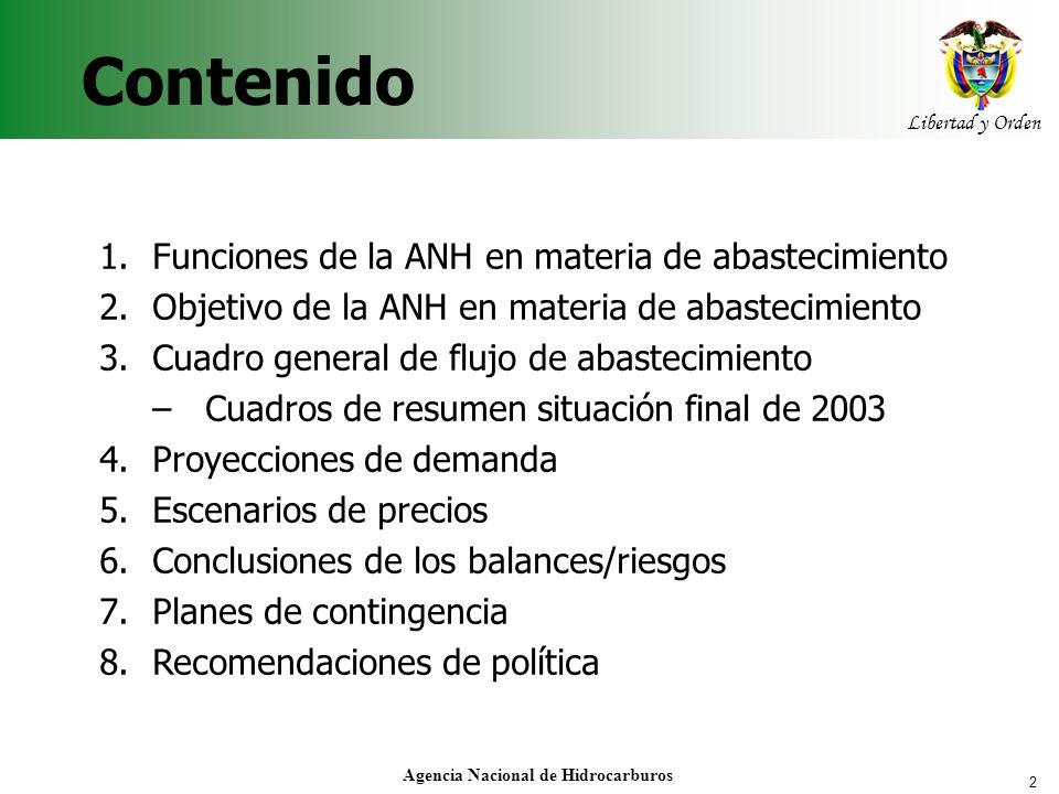 2 Libertad y Orden Agencia Nacional de Hidrocarburos Contenido 1.Funciones de la ANH en materia de abastecimiento 2.Objetivo de la ANH en materia de a
