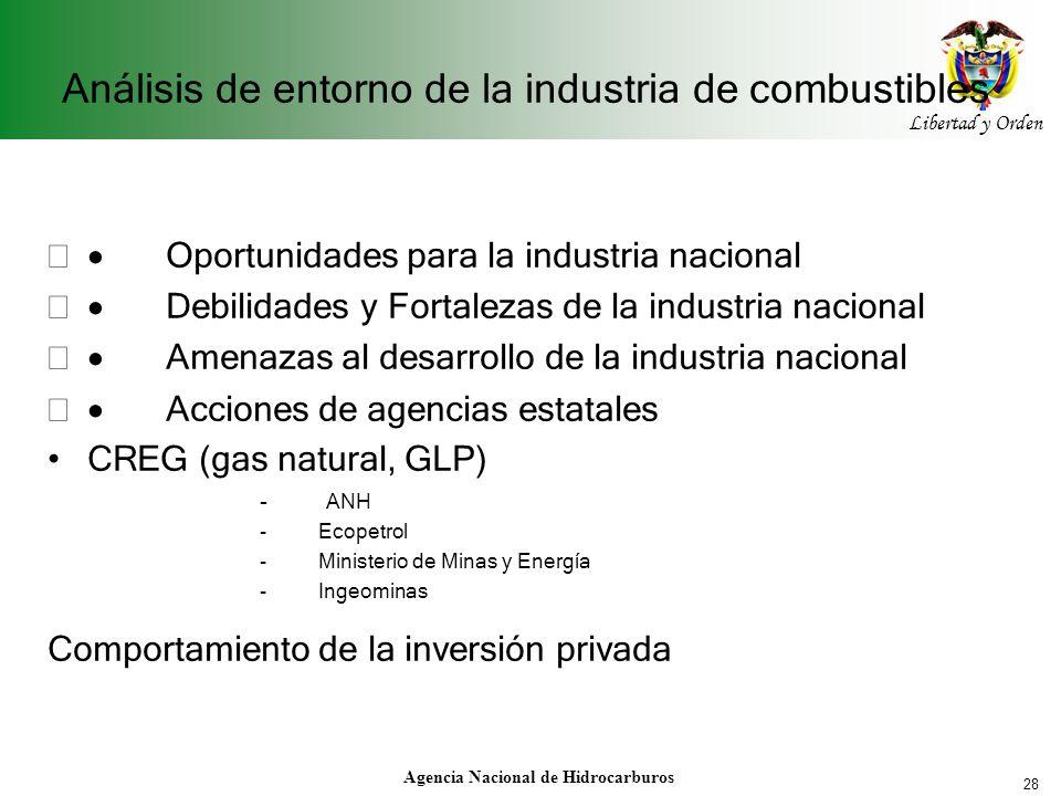 28 Libertad y Orden Agencia Nacional de Hidrocarburos Análisis de entorno de la industria de combustibles Oportunidades para la industria nacional Deb