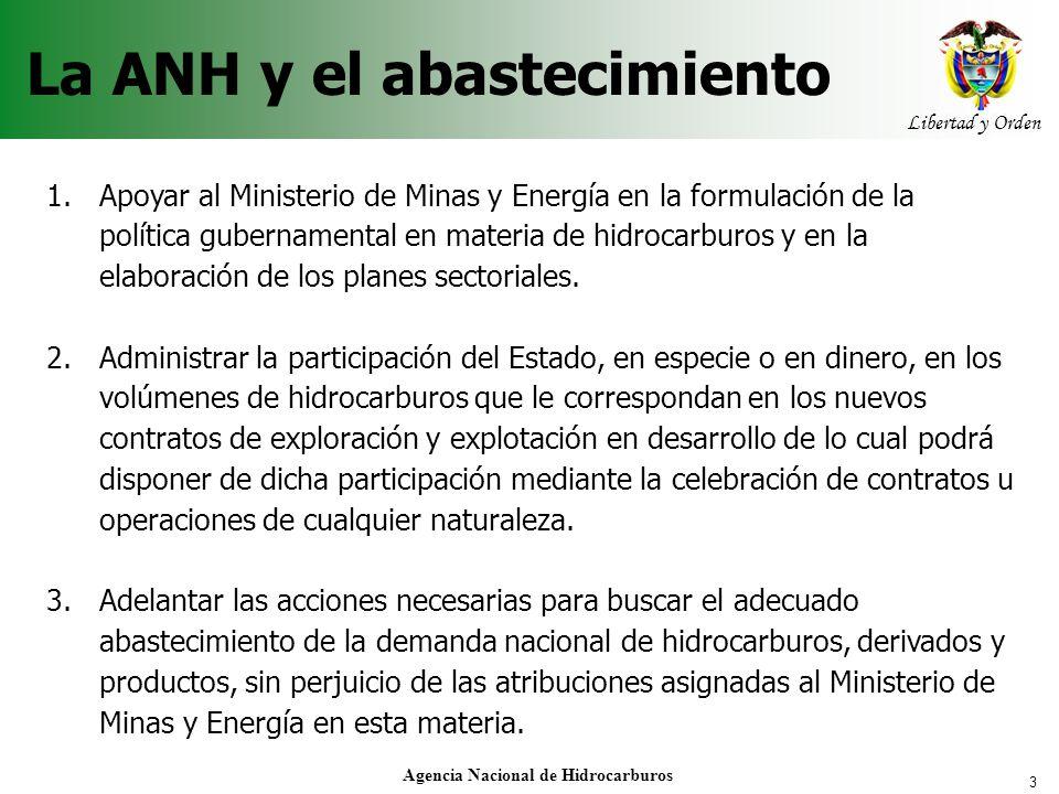 3 Libertad y Orden Agencia Nacional de Hidrocarburos La ANH y el abastecimiento 1.Apoyar al Ministerio de Minas y Energía en la formulación de la polí