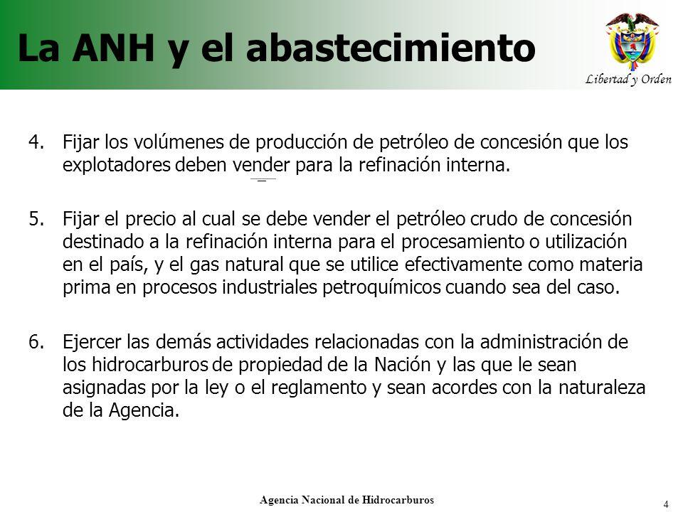 4 Libertad y Orden Agencia Nacional de Hidrocarburos La ANH y el abastecimiento 4.Fijar los volúmenes de producción de petróleo de concesión que los e