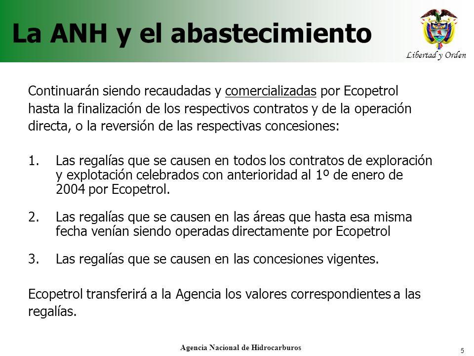5 Libertad y Orden Agencia Nacional de Hidrocarburos Continuarán siendo recaudadas y comercializadas por Ecopetrol hasta la finalización de los respec