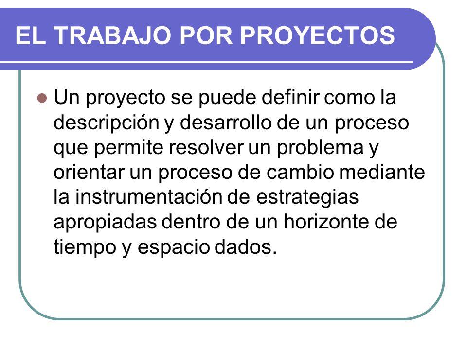 EL TRABAJO POR PROYECTOS Un proyecto se puede definir como la descripción y desarrollo de un proceso que permite resolver un problema y orientar un pr