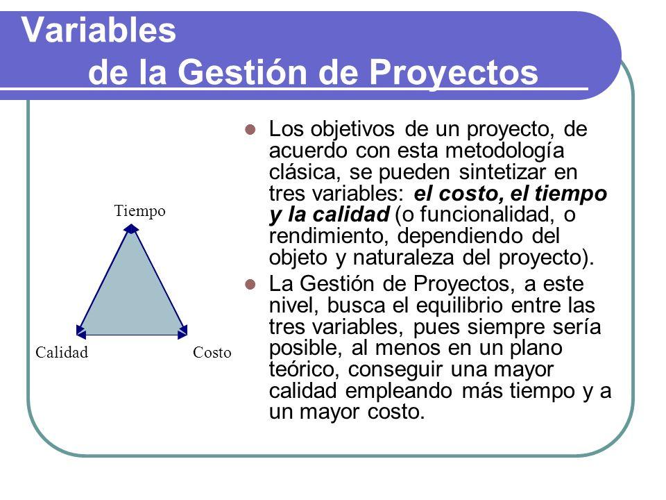 Variables de la Gestión de Proyectos Los objetivos de un proyecto, de acuerdo con esta metodología clásica, se pueden sintetizar en tres variables: el