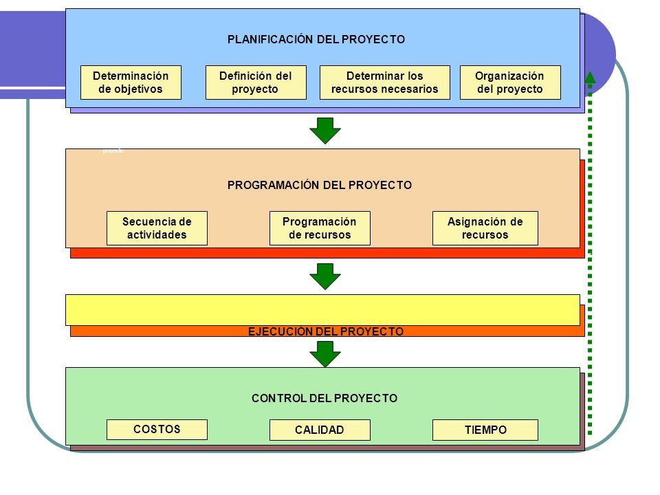 PLANIFICACIÓN DEL PROYECTO Determinación de objetivos Definición del proyecto Determinar los recursos necesarios Organización del proyecto PROGRAMACIÓ