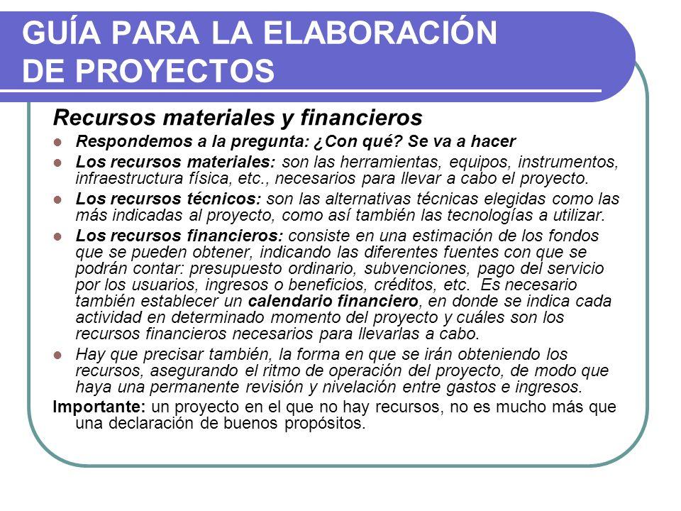 GUÍA PARA LA ELABORACIÓN DE PROYECTOS Recursos materiales y financieros Respondemos a la pregunta: ¿Con qué? Se va a hacer Los recursos materiales: so
