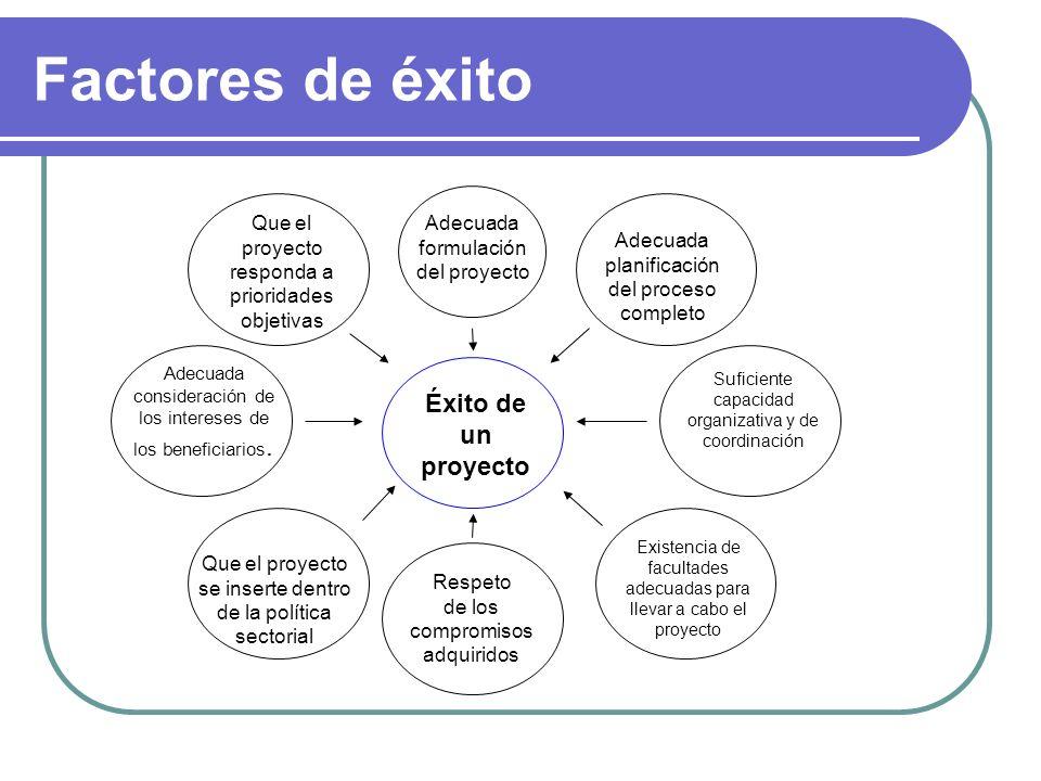 Factores de éxito Éxito de un proyecto Adecuada formulación del proyecto Adecuada planificación del proceso completo Suficiente capacidad organizativa