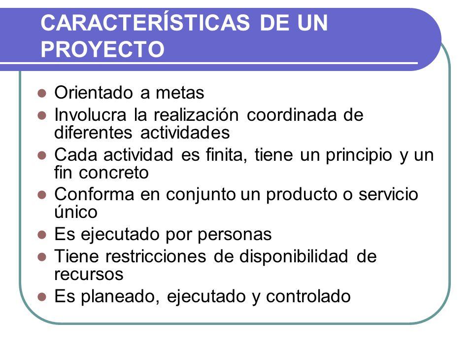 CARACTERÍSTICAS DE UN PROYECTO Orientado a metas Involucra la realización coordinada de diferentes actividades Cada actividad es finita, tiene un prin