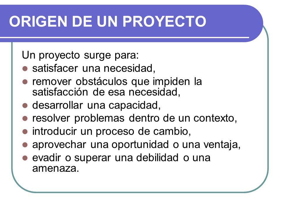 ORIGEN DE UN PROYECTO Un proyecto surge para: satisfacer una necesidad, remover obstáculos que impiden la satisfacción de esa necesidad, desarrollar u