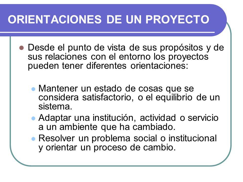 ORIENTACIONES DE UN PROYECTO Desde el punto de vista de sus propósitos y de sus relaciones con el entorno los proyectos pueden tener diferentes orient