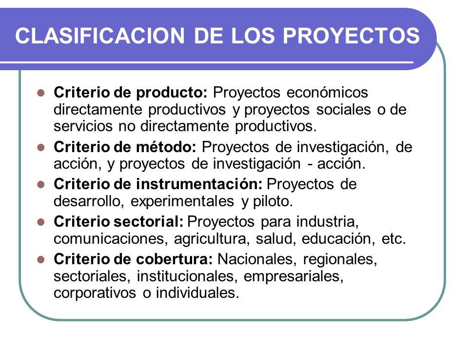 CLASIFICACION DE LOS PROYECTOS Criterio de producto: Proyectos económicos directamente productivos y proyectos sociales o de servicios no directamente