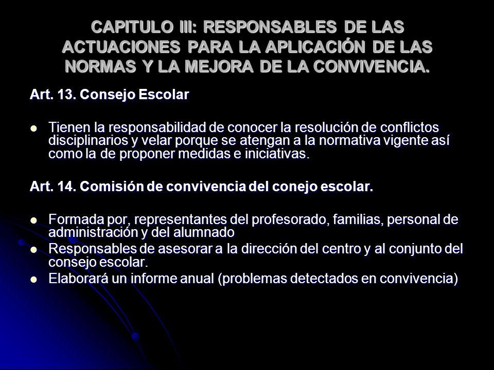 CAPITULO III: RESPONSABLES DE LAS ACTUACIONES PARA LA APLICACIÓN DE LAS NORMAS Y LA MEJORA DE LA CONVIVENCIA. Art. 13. Consejo Escolar Tienen la respo