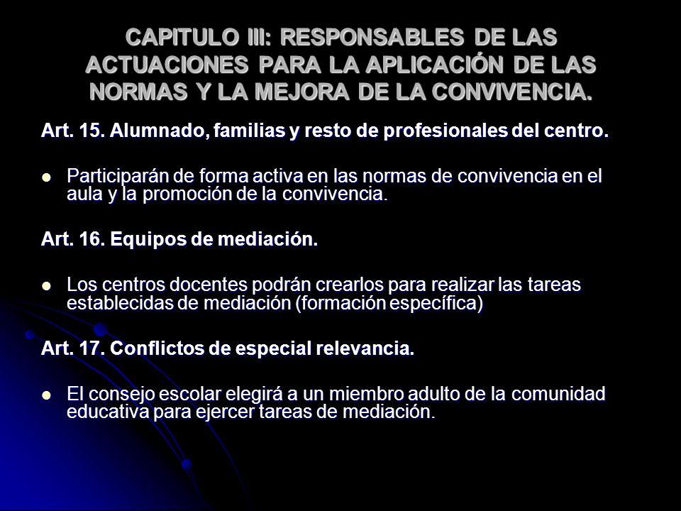 CAPITULO III: RESPONSABLES DE LAS ACTUACIONES PARA LA APLICACIÓN DE LAS NORMAS Y LA MEJORA DE LA CONVIVENCIA. Art. 15. Alumnado, familias y resto de p