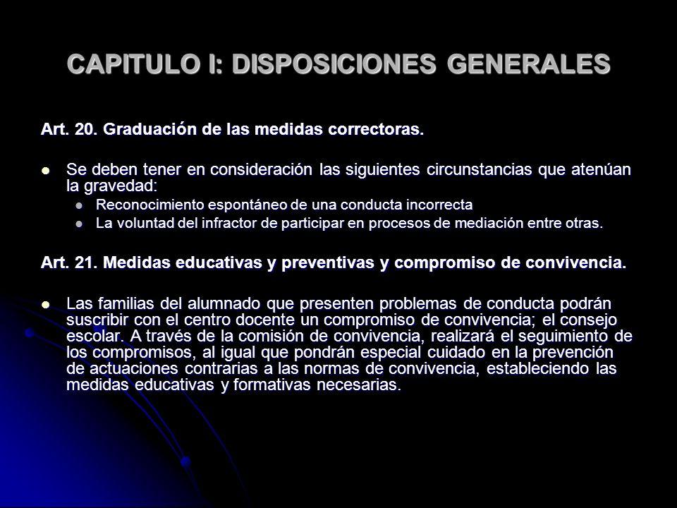 CAPITULO I: DISPOSICIONES GENERALES Art. 20. Graduación de las medidas correctoras. Se deben tener en consideración las siguientes circunstancias que