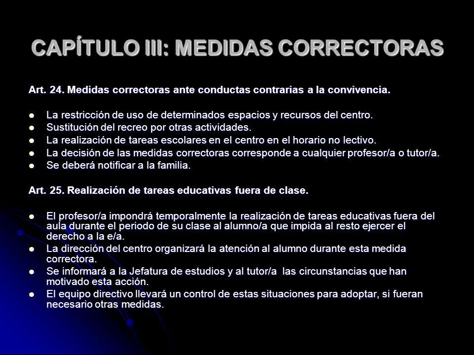 CAPÍTULO III: MEDIDAS CORRECTORAS Art. 24. Medidas correctoras ante conductas contrarias a la convivencia. La restricción de uso de determinados espac