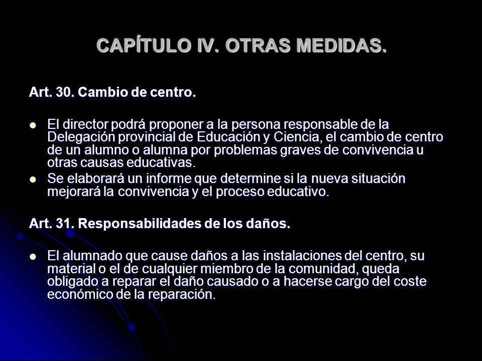 CAPÍTULO IV. OTRAS MEDIDAS. Art. 30. Cambio de centro. El director podrá proponer a la persona responsable de la Delegación provincial de Educación y