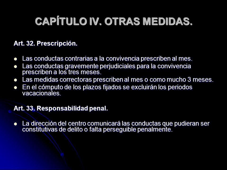 CAPÍTULO IV. OTRAS MEDIDAS. Art. 32. Prescripción. Las conductas contrarias a la convivencia prescriben al mes. Las conductas contrarias a la conviven