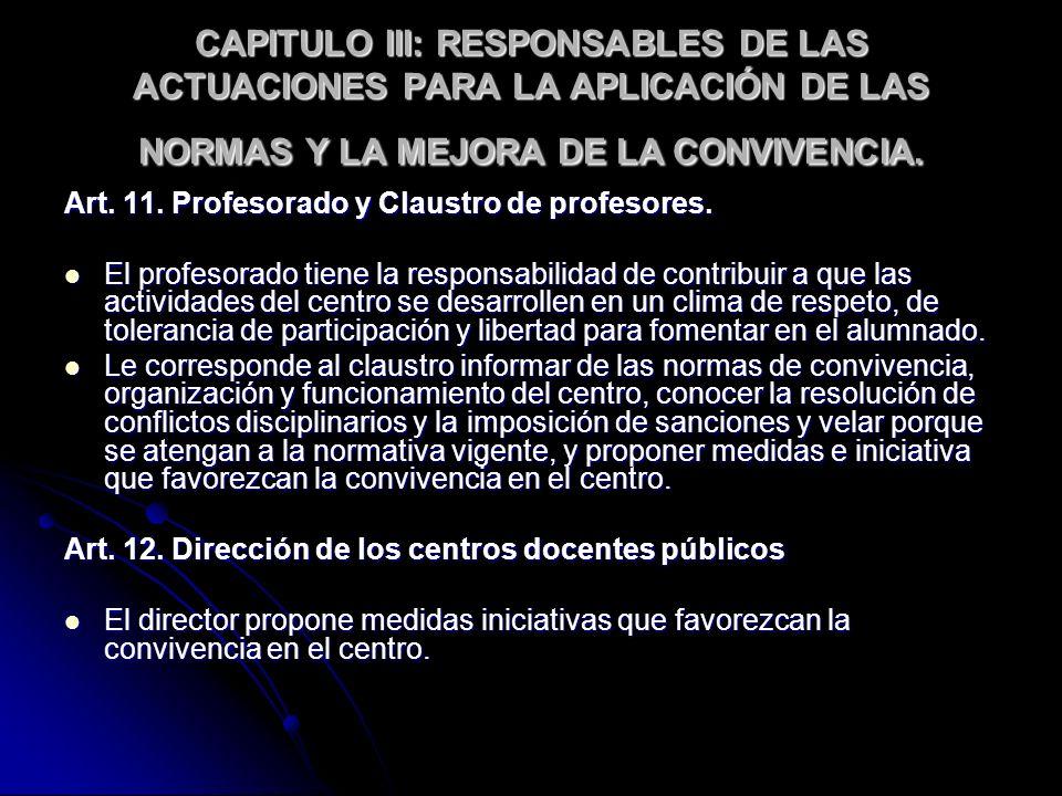 CAPITULO III: RESPONSABLES DE LAS ACTUACIONES PARA LA APLICACIÓN DE LAS NORMAS Y LA MEJORA DE LA CONVIVENCIA. Art. 11. Profesorado y Claustro de profe