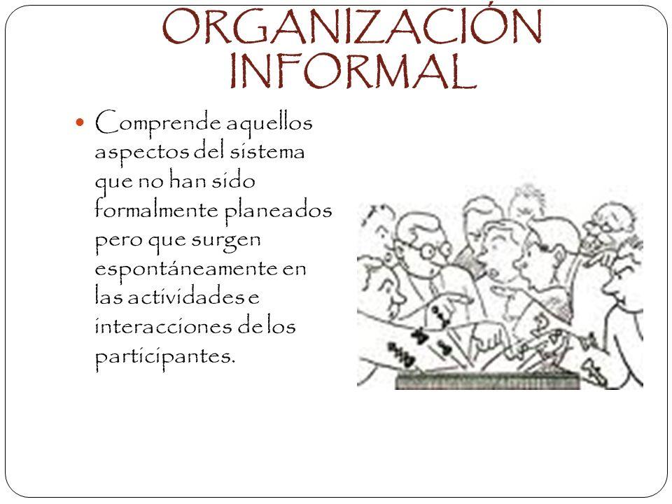 CLASIFICACIÓN ORGANIZACIÓN FORMAL: Estructura planeada que intenta de manera deliberada establecer un patrón de relaciones entre sus componente al que