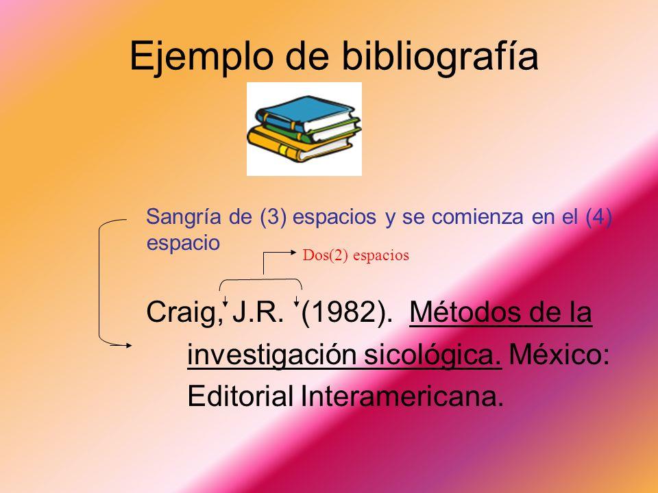 Bibliografía Es una lista con su descripción de todos los libros, revistas, folletos, periódicos, materiales audiovisuales, etc. utilizados en la real