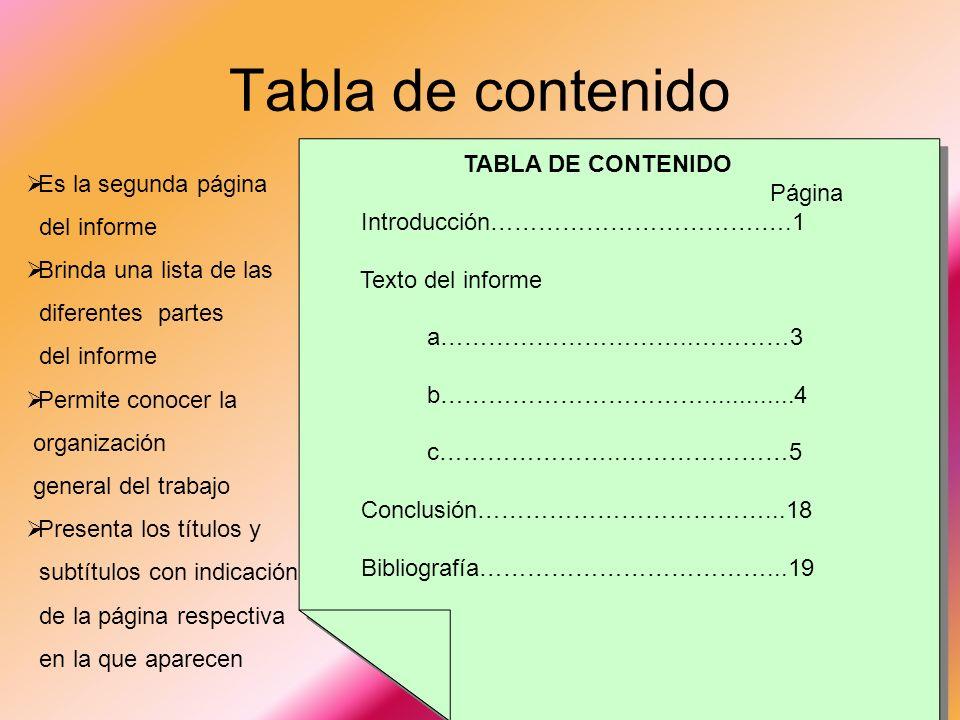 Portada Es la primera página del informe Da una idea del tema a discutirse Incluye; Nombre Grupo Clase Nombre del maestro(a) Fecha de entrega Centrali