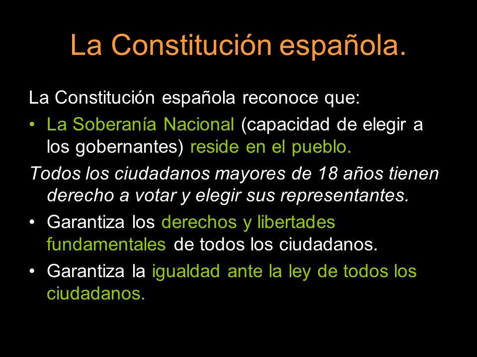 La Constitución española reconoce que: La Soberanía Nacional (capacidad de elegir a los gobernantes) reside en el pueblo. Todos los ciudadanos mayores