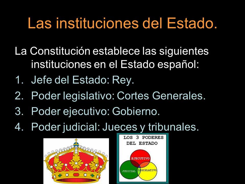 Las instituciones del Estado. La Constitución establece las siguientes instituciones en el Estado español: 1.Jefe del Estado: Rey. 2.Poder legislativo