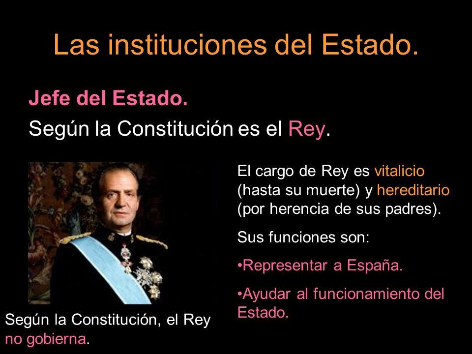 Jefe del Estado. Según la Constitución es el Rey. El cargo de Rey es vitalicio (hasta su muerte) y hereditario (por herencia de sus padres). Sus funci