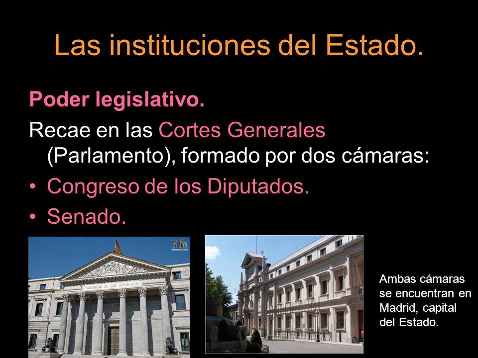 Las instituciones del Estado. Poder legislativo. Recae en las Cortes Generales (Parlamento), formado por dos cámaras: Congreso de los Diputados. Senad