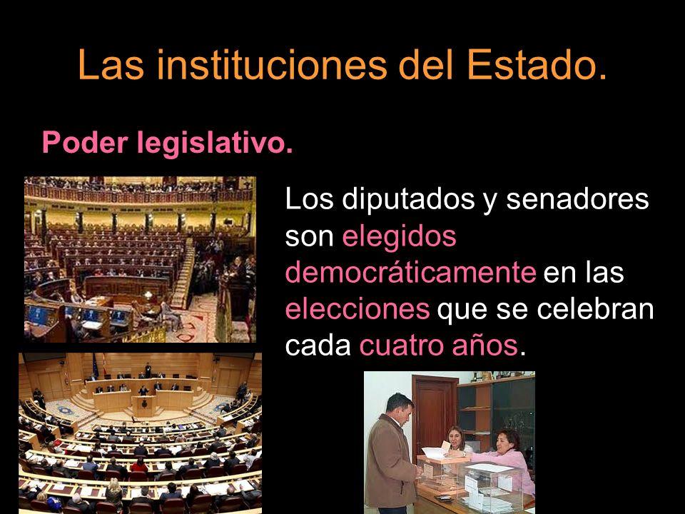 Las instituciones del Estado. Poder legislativo. Los diputados y senadores son elegidos democráticamente en las elecciones que se celebran cada cuatro