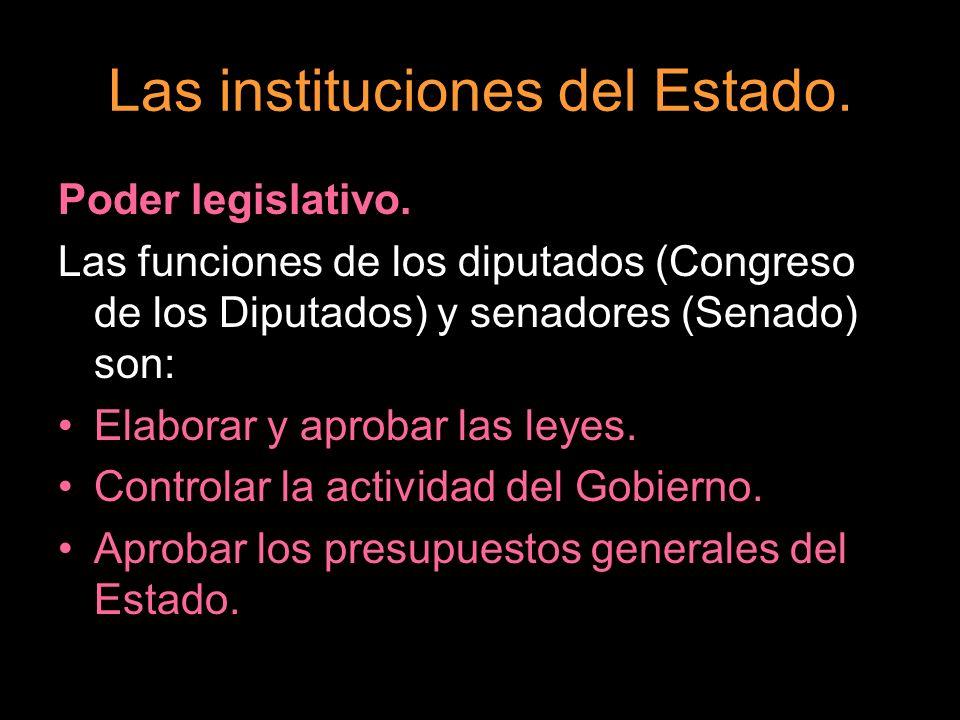 Las instituciones del Estado. Poder legislativo. Las funciones de los diputados (Congreso de los Diputados) y senadores (Senado) son: Elaborar y aprob