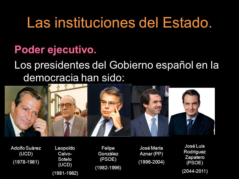 Las instituciones del Estado. Poder ejecutivo. Los presidentes del Gobierno español en la democracia han sido: Adolfo Suárez (UCD) (1978-1981) Leopold