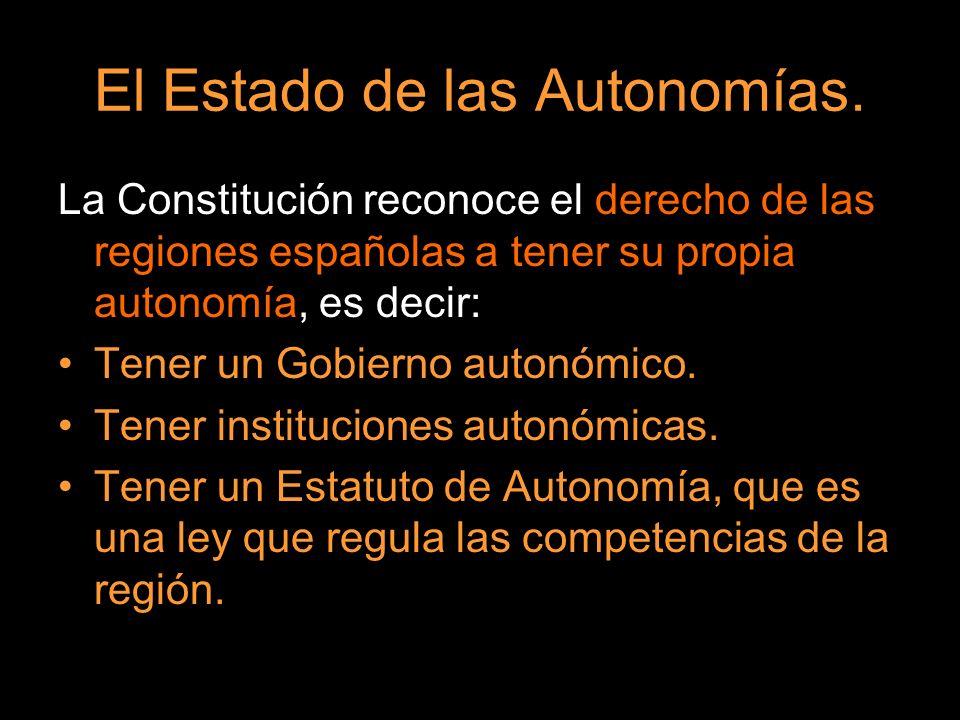 El Estado de las Autonomías. La Constitución reconoce el derecho de las regiones españolas a tener su propia autonomía, es decir: Tener un Gobierno au