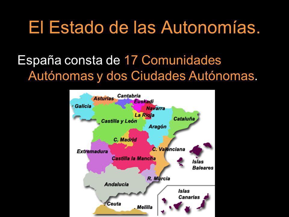 El Estado de las Autonomías. España consta de 17 Comunidades Autónomas y dos Ciudades Autónomas.