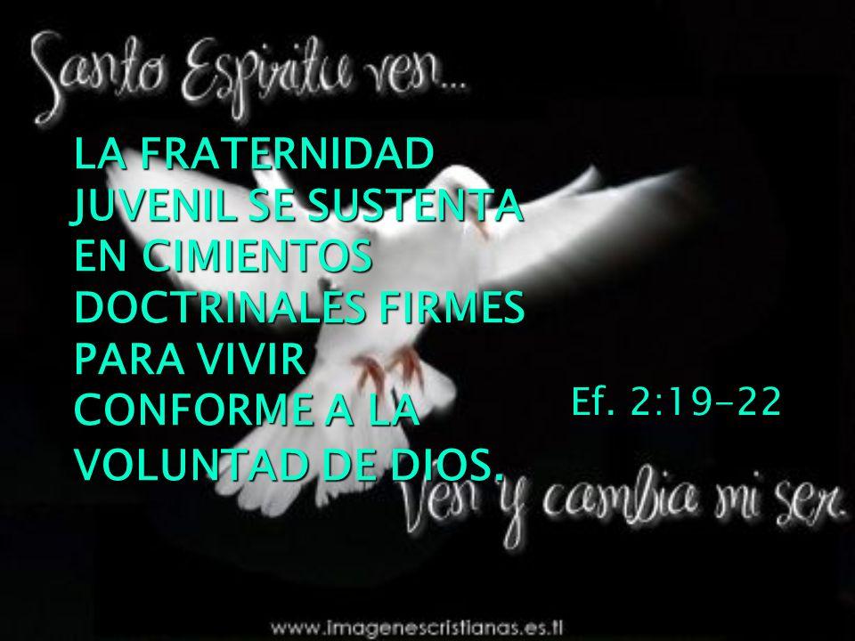 LA FRATERNIDAD JUVENIL SE SUSTENTA EN CIMIENTOS DOCTRINALES FIRMES PARA VIVIR CONFORME A LA VOLUNTAD DE DIOS. Ef. 2:19-22