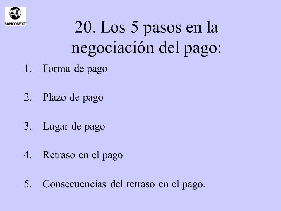 20. Los 5 pasos en la negociación del pago: 1.Forma de pago 2.Plazo de pago 3.Lugar de pago 4.Retraso en el pago 5.Consecuencias del retraso en el pag