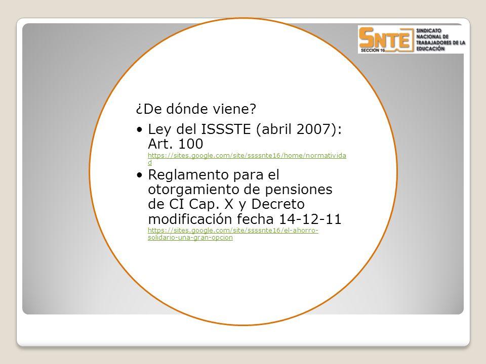 ¿De dónde viene? Ley del ISSSTE (abril 2007): Art. 100 https://sites.google.com/site/ssssnte16/home/normativida d https://sites.google.com/site/ssssnt